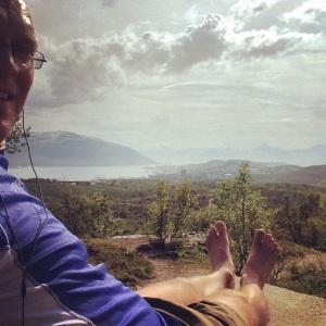 På toppen av Varden - 159m over havet. Fin utsikt.